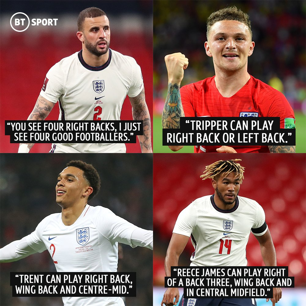 Gareth Southgate explains the inclusion of four right backs in his provisional England #Euro2020 squad...